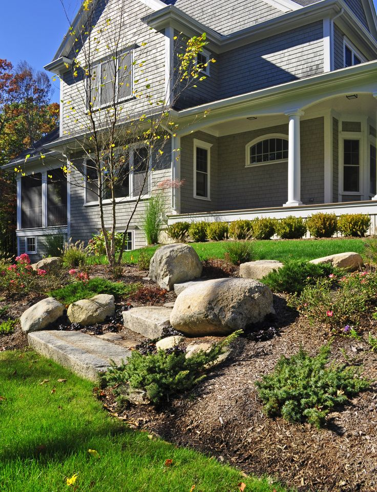 Reused Granite Curb Steps With Boulders And Planting Bed. Seoane Landscape Design Inc. Abington ...
