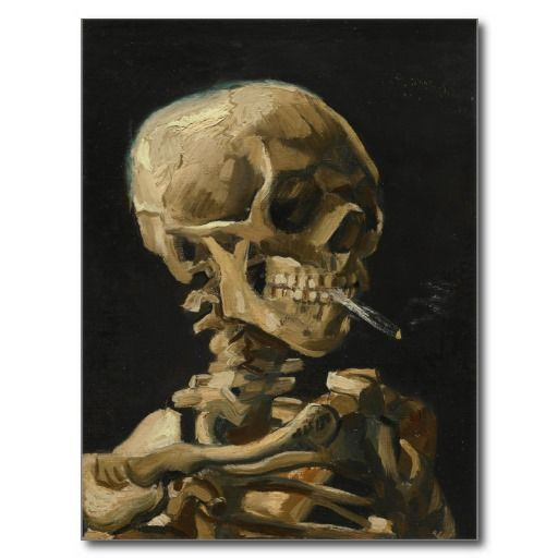 #skull with a #burning #cigarette by #van gogh