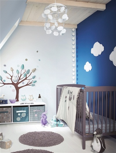 Cloud lampshade. Whole idea is cute for a baby room!