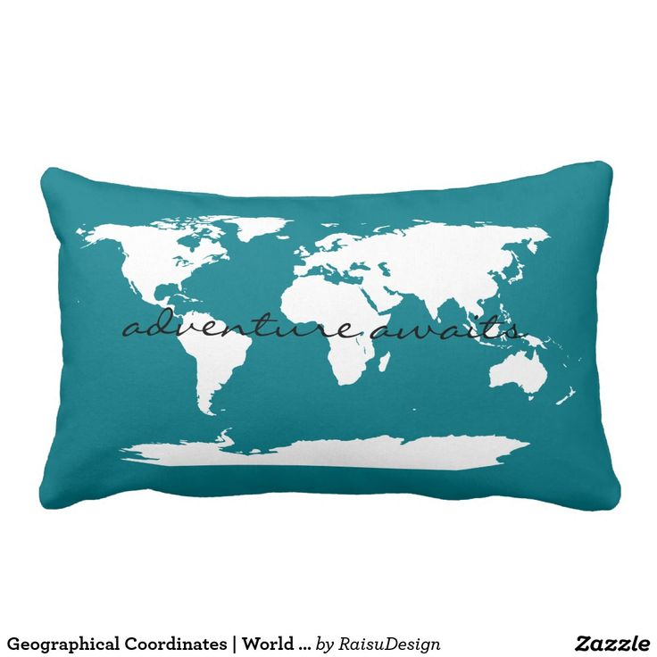 Geographical Coordinates | World Map Pillow