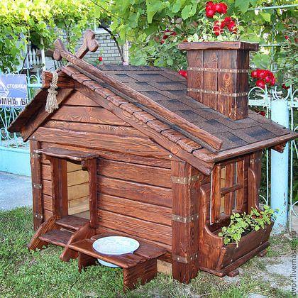 """Будка для собаки """"Цветочная"""" (дерево состаренное) - Будка для собаки,собачья будка"""