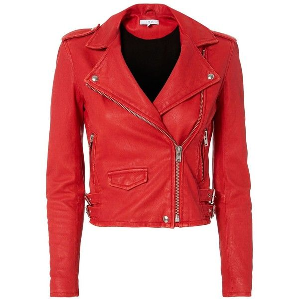 IRO Women's Ashville Red Cropped Leather Jacket (£945) ❤ liked on Polyvore featuring outerwear, jackets, coats & jackets, leather jacket, veste, red, red moto jacket, moto jackets, red jacket and real leather jackets