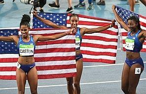 Americans Brianna Rollins, Nia Ali, Kristi Castlin sweep medals in 100 hurdles