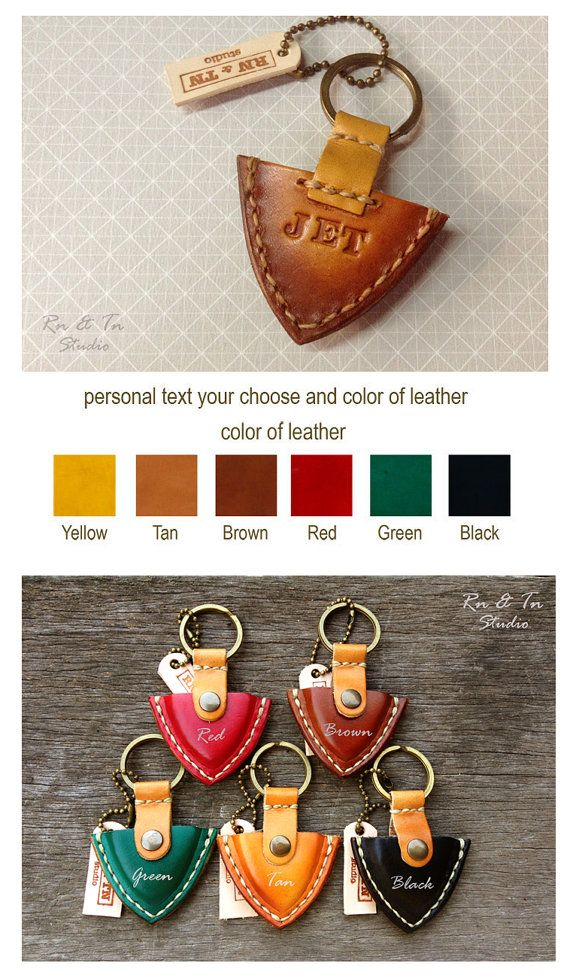 Personalized Guitar Pick case leather keyring men by rntn on Etsy