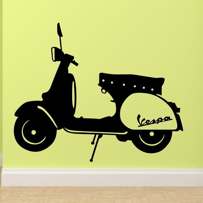 VESPA wall stickers bedroom lounge mod lambretta motorbike sticker art vinyl | eBay