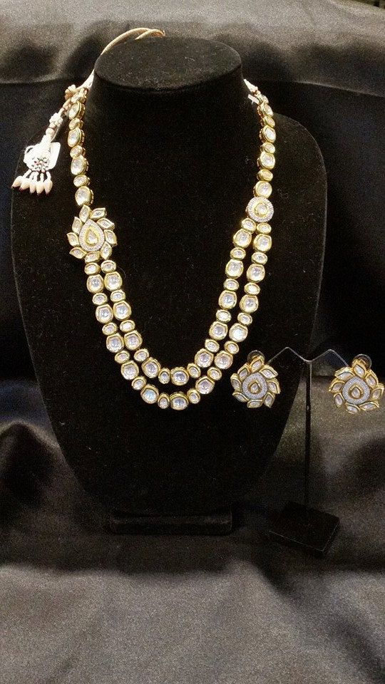 Uncut Kundan 2line necklace set