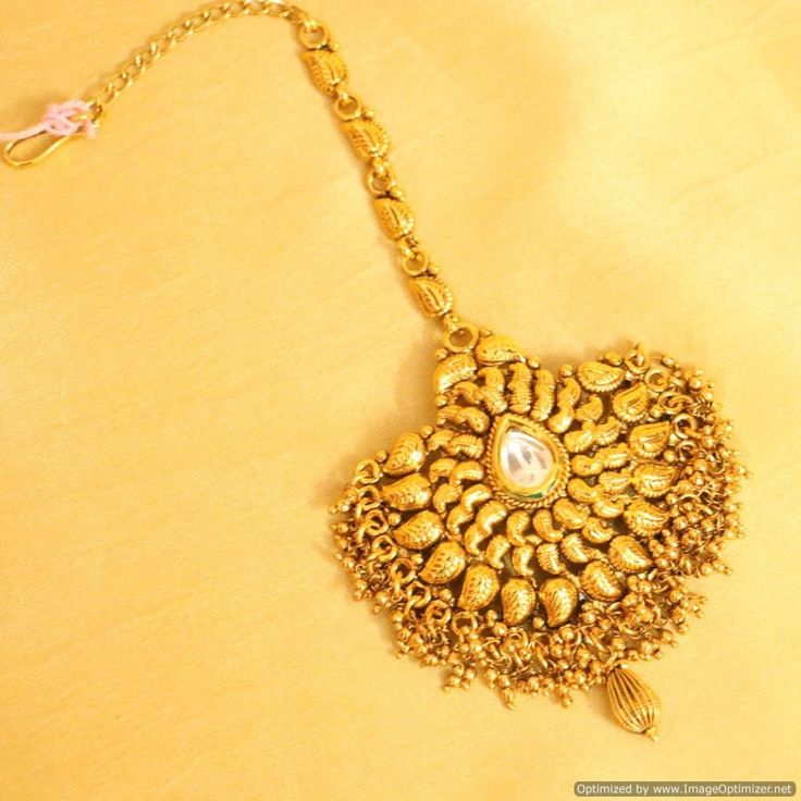 Bejeweled Bridal Antique Gold Kundan Maang Tikka-Maang Tikkas-Sanvi Jewels Pvt. Ltd.