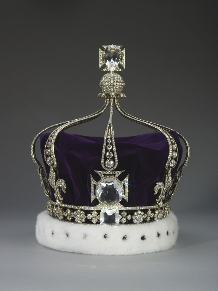 Queen Marys Crown. 1911. Silver, gold, diamonds, quartz crystal, velvet and ermine. Acquirer: Queen Mary, consort of King George V, King of the United Kingdom (1867-1953). Provenance: Commissioned by Queen Mary, consort of King George V, from the Crown Jewellers, Garrard & Co., for the coronation on 22 June 1911.