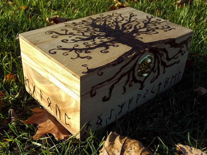 Large Woodburned Jewelry Box of Yggdrasil Tree of Life and Nordic Runes. $30.00, via Etsy.