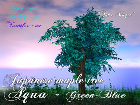 Second Life Marketplace - *Thus Magic* ~ Japanese maple tree AQUA - green - blue - promo price !