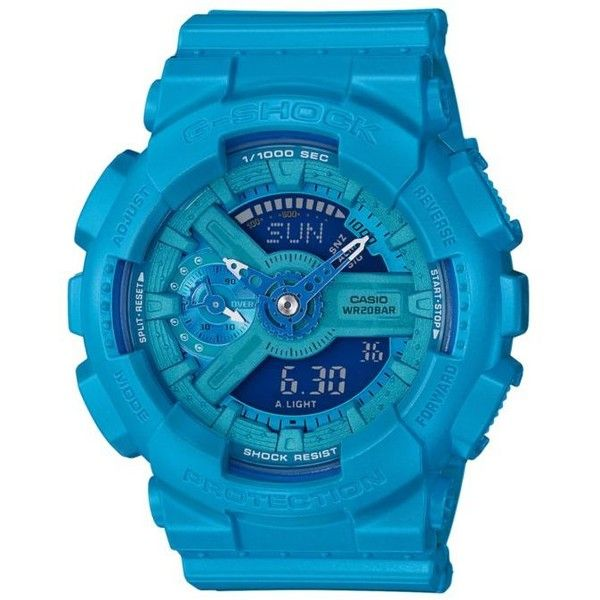 G-Shock  Women's Bright Blue Ana-Digi G-Shock Watch ($130) ❤ liked on Polyvore featuring jewelry, watches, blue, magnetic jewelry, analog digital watches, quartz movement watches, blue watches and magnet jewelry