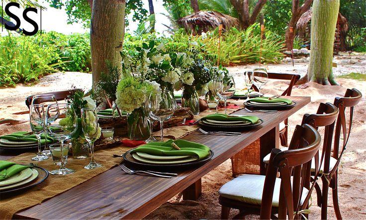 Boda con flores verdes en la playa / Beach Wedding with green flowers