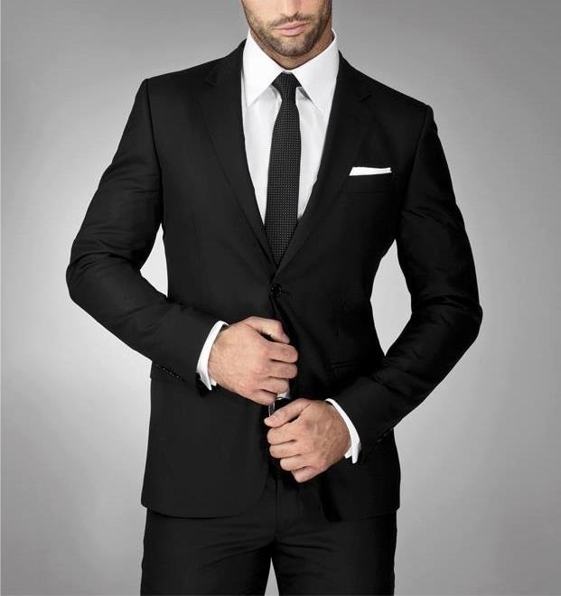 skinny black tie black suit white shirt