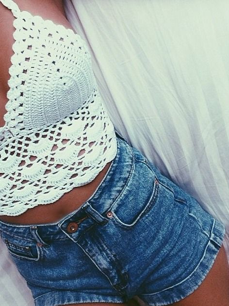 Cute lace top with a simple denim pair of shorts -> Awesome >.