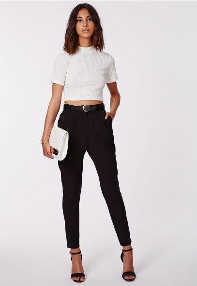 Uttara High Waisted Cigarette Trousers - Trousers - Missguided | Ireland 316 kr