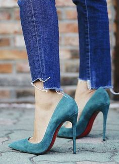 #summer #women's #shoes #inspiration | Teal Suede Loubs