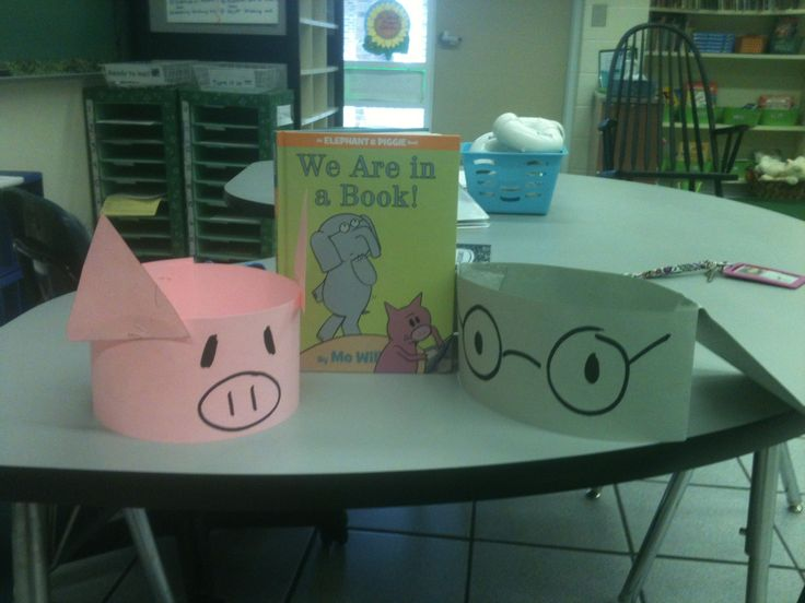 Celebrating Mo Willems with Gerald and Piggie headbands!