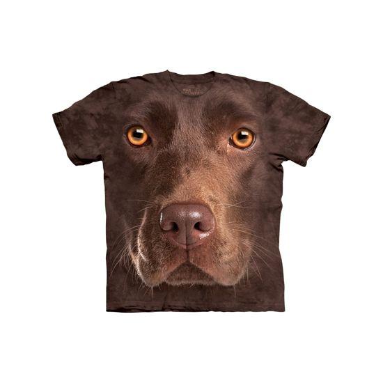 Honden T-shirt bruine Labrador. T-shirt van het merk The Mountain met afbeelding van het gezicht van een bruine Labrador. Dit T-shirt met fotoprint is gemaakt met milieuvriendelijke inkten. Materiaal: 100% katoen.