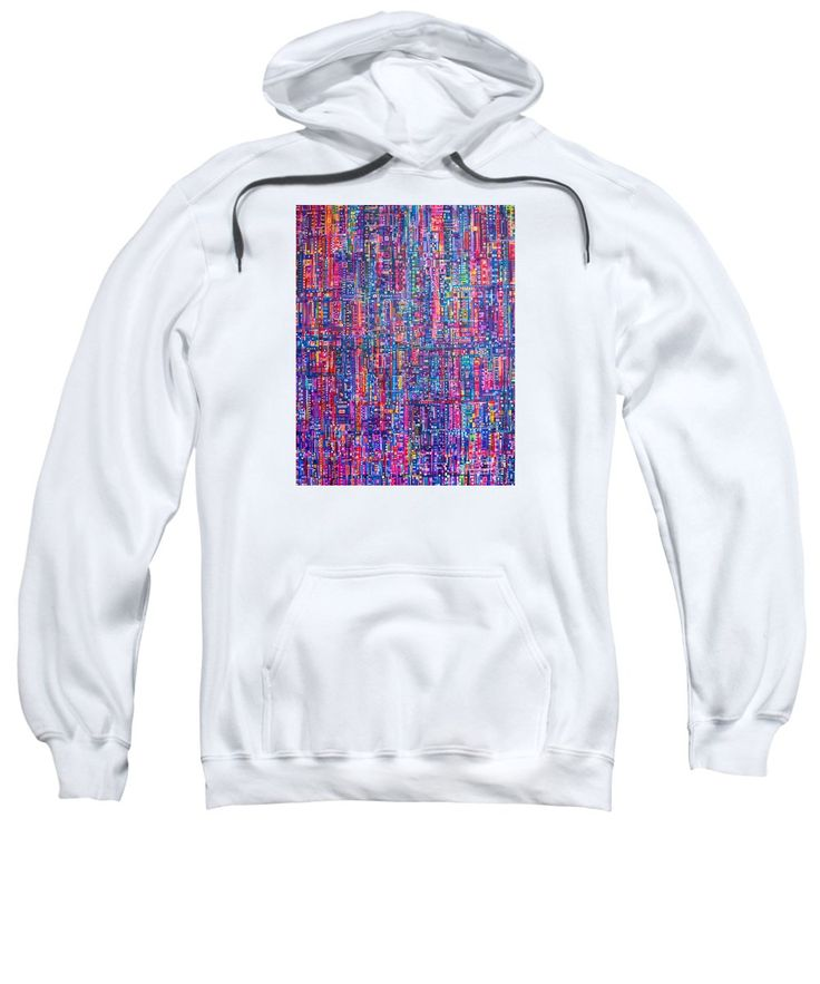 Squares Rectangles Streets Neon Original Artwork Painting Acrylic Blue Purple Pink Fuschia Orange Yellow Green Turquoise White Black Red Striped Patterns Sweatshirt featuring the painting Bright City Night by Expressionistart studio Priscilla Batzell