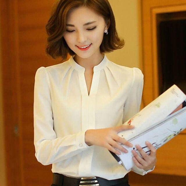 Mulheres blusas New Arrival moda primavera outono estilo coreano manga comprida Chiffon blusa Ladies escritório camisa branca Tops formais
