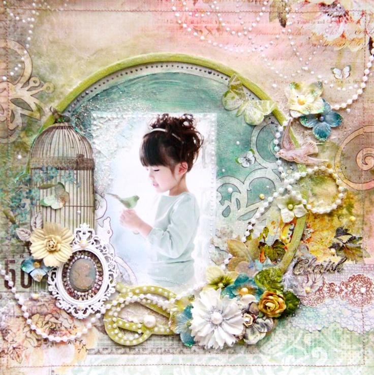 Scrapbook page by designer Tomoko Takahashi.  Great artist.