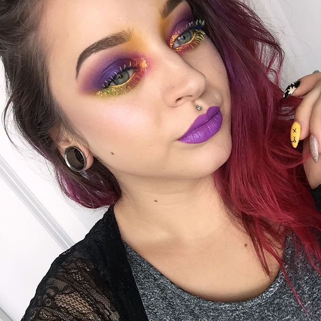 All or nothing, baby! Today's colorful look inspired by my makeup junkie little cousin Raylea! 😘😘 Eyes - @urbandecaycosmetics Electric Palette, @sugarpill Buttercupcake, @coastalscents Starburst glitter & colored mascaras from @benefitcosmetics & @nyxcosmetics. Brows - @anastasiabeverlyhills Brow Powder Duo & NYX brow gel. Lips - @nyxcosmetics Violet. ✨