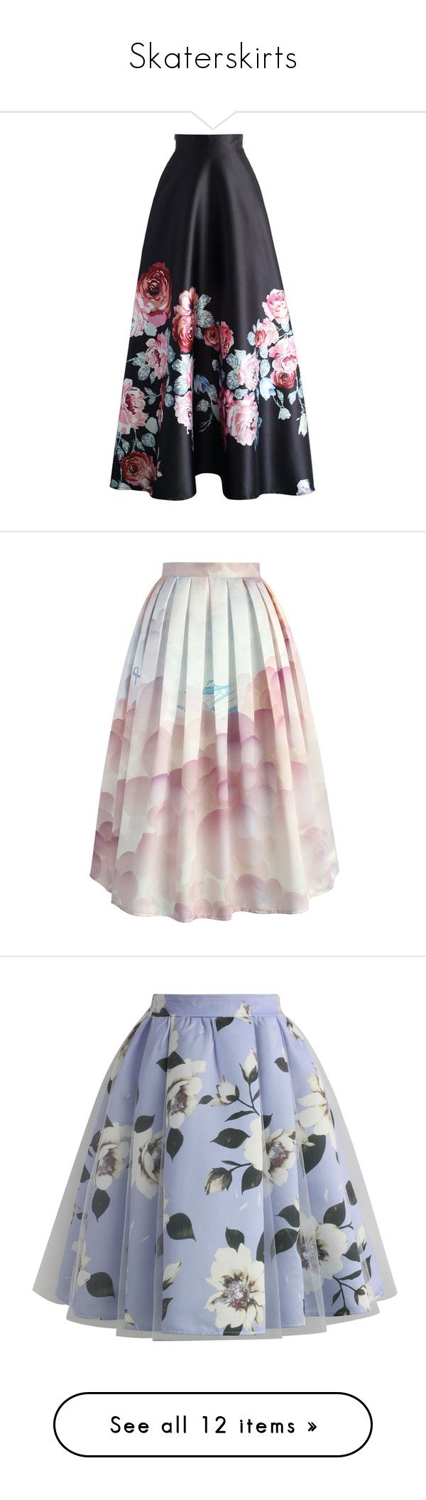 """""""Skaterskirts"""" by craneberries on Polyvore featuring skirts, bottoms, long skirts, black, maxi skirt, long maxi skirts, floral print maxi skirt, floral maxi skirt, floor length skirt and rose print skirt"""