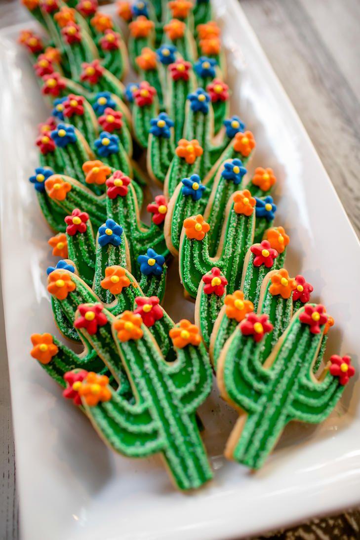 Cactus themed wedding cookies