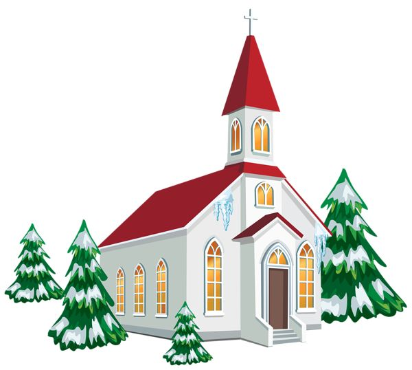 Winter Church with Snow Trees PNG Clipart Image Clipart