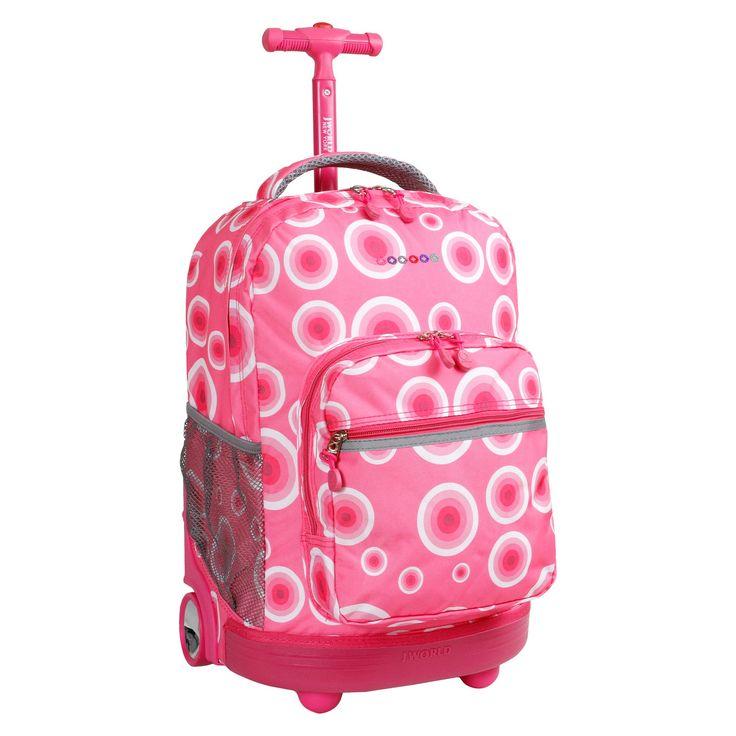J World 18 Sunrise Rolling Backpack - Pink