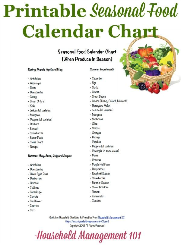 Free printable seasonal food calendar chart, listing the produce in season in each of the four seasons, to help you with both meal planning and saving money {courtesy of Household Management 101} #ad