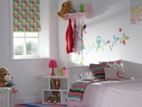 White Wall Color Scheme with Cute Birds Cartoon Wall Stickers in Small Teenage Girls Bedroom Design Ideas   White Wall Color Scheme with Cut...