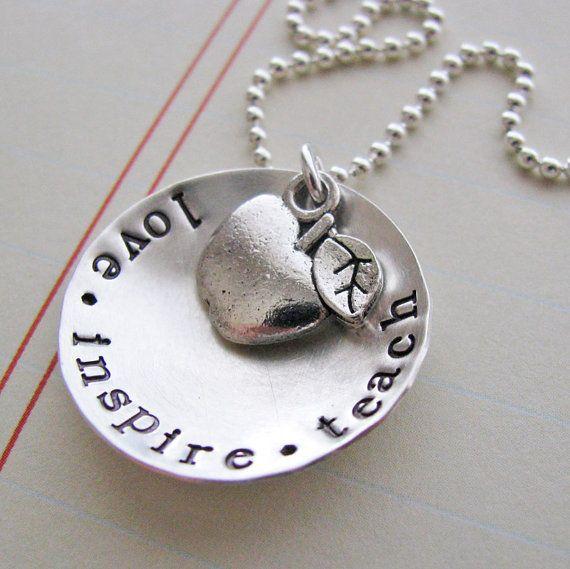 love inspire teach necklace  teacher gift by juliethefish on Etsy