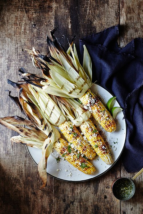Grilled Corn with Cilantro-Lime Compound Butter  Corn on the cob, silks removed, husks intact Compound butter (recipe to follow)....