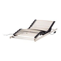 IKEA - LAKSEVÅG, Lattenbodem, verstelbaar, 90x200 cm, , Hoofd- en voeteneinde kunnen met een afstandsbediening worden versteld.30 latten van gelaagd berken tasten het lichaamsgewicht af en vergroten de volgzaamheid van de matras.3 comfortzones verlagen de druk op je schouders en heupen.
