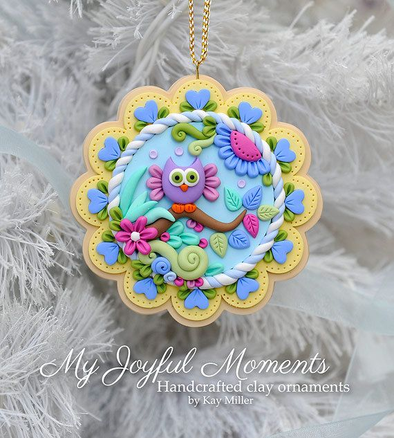 Handcrafted Polymer Clay Whimsical Owl  Scene by MyJoyfulMoments