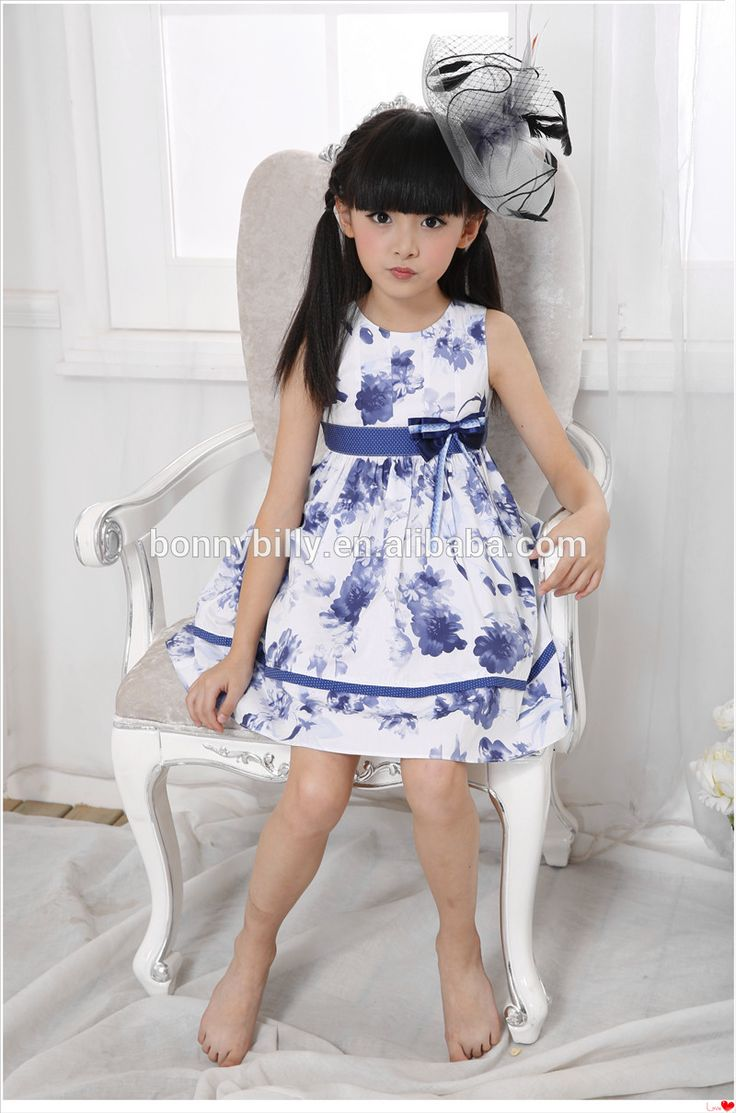 girls' cultural style printed cotton blue dress,wholesale children's boutique clothing ,7 years old kids clothes
