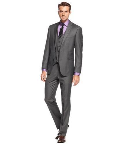 a467b87ece5 Slim Fit Grey Best Man Groomsman Men s Wedding Prom 3 Piece Suits Groom  Tuxedos