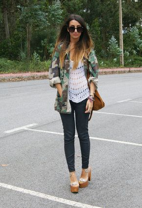 Fox House  Shirt / Blouses, Jeffrey Campbell  Heels / Wedges and Zara  Jeans: A Mini-Saia Jeans, Street Style, Fashion Faded, Campbell Heels, Military Style, Dark Forests, Fashion Mi Style, Foxes House, Camo Glam
