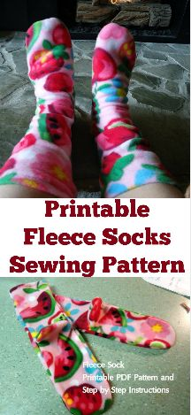 Printable sewing pattern for making fleece socks. Kids, ladies and men sizes included. How to make fleece socks. (affiliate link)