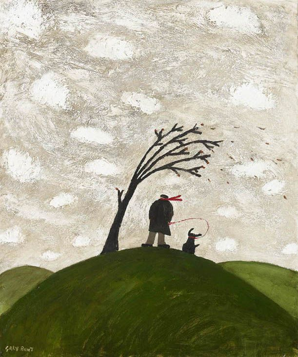 Gary Bunt A Windy Day Oil on canvas Up on a hill On a windy day Is not the place to be I hope he does not forget I'm here I hope he's holding me