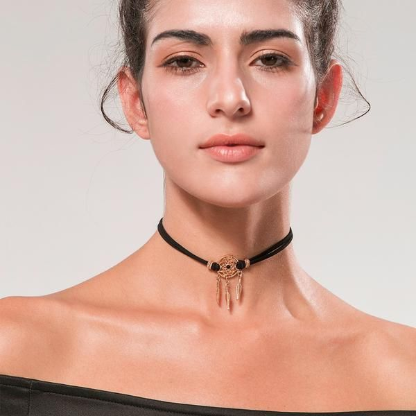 Dream Catcher Choker, Choker - Golden Spiral | Gold plated choker | Leather | Suede | Cloth Fabric | Black | Brown | Golden Chain | Style: Boho chic | Bohemian | Gypsy | Hippie | Festival | Nomad | Minimalistic |