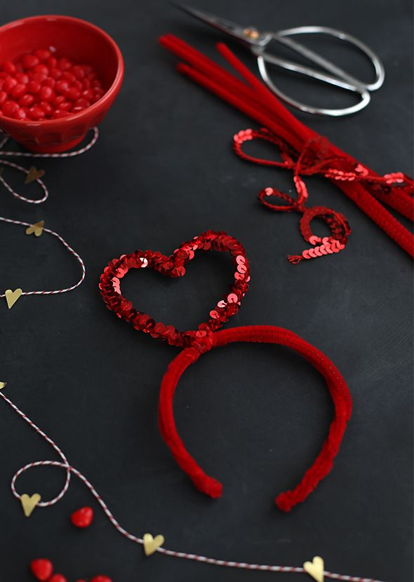 Kids Craft: Valentines Day Sequin Heart Headbands