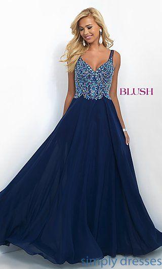 Dresses, Formal, Prom Dresses, Evening Wear: Long Classic Chiffon V-Neck Blush Prom Dress