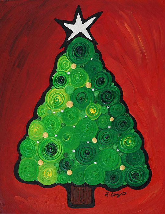 Christmas Tree Twinkle Green Red Silver Gold by terracegallery, $195.00