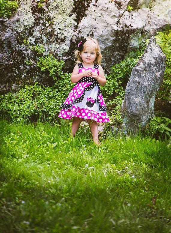 Vestido de Minnie Mouse rosa Med peekaboo vestido Jumper