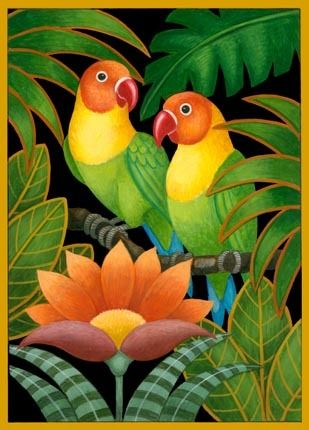 two-parrots-and-flowers