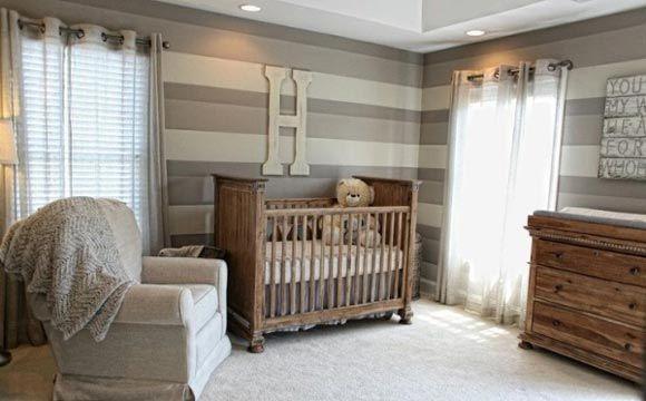 Quarto de bebê com decoração rústica