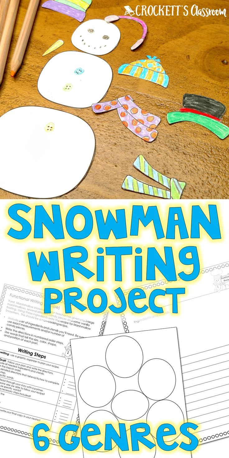 Who doesn't love a snowman!  Your kids will fall in love with this snowman writing project.  They'll learn the characteristics of 6 different writing genres:  functional (recipe) narrative, persuasive letter, poetry (diamante poem), informative (book report), informative (missing poster).