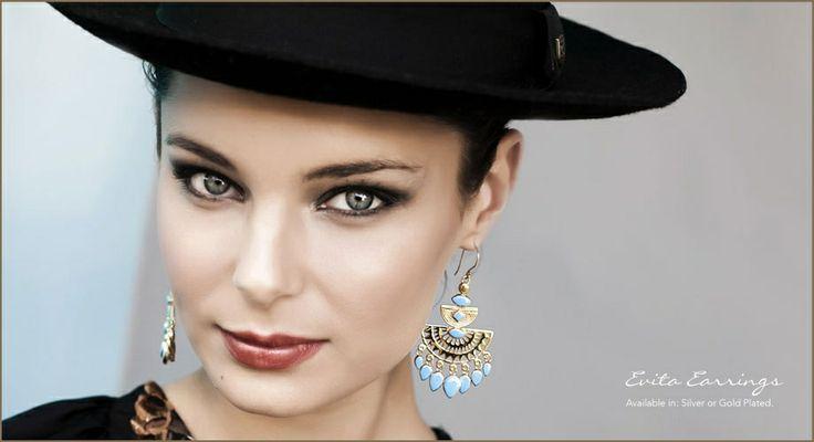 Bohemian Gold  Evita Earrings in turquoise